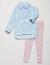 Toddler 2 Piece Set: Pleated Shirt & Leggings