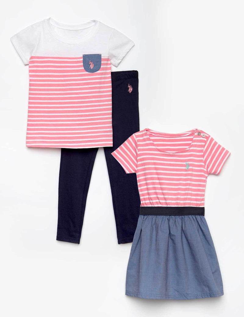 GIRLS 3 PIECE SET - DRESS, TEE & LEGGINGS