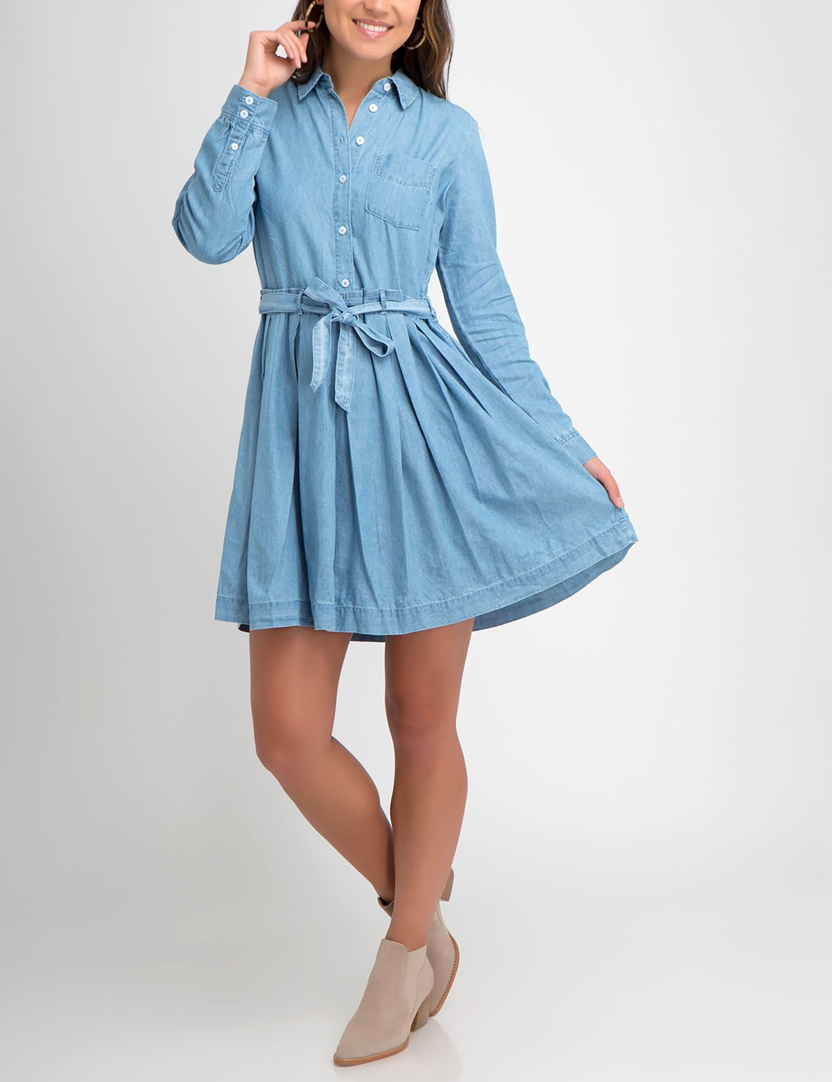 PLEATED DENIM DRESS