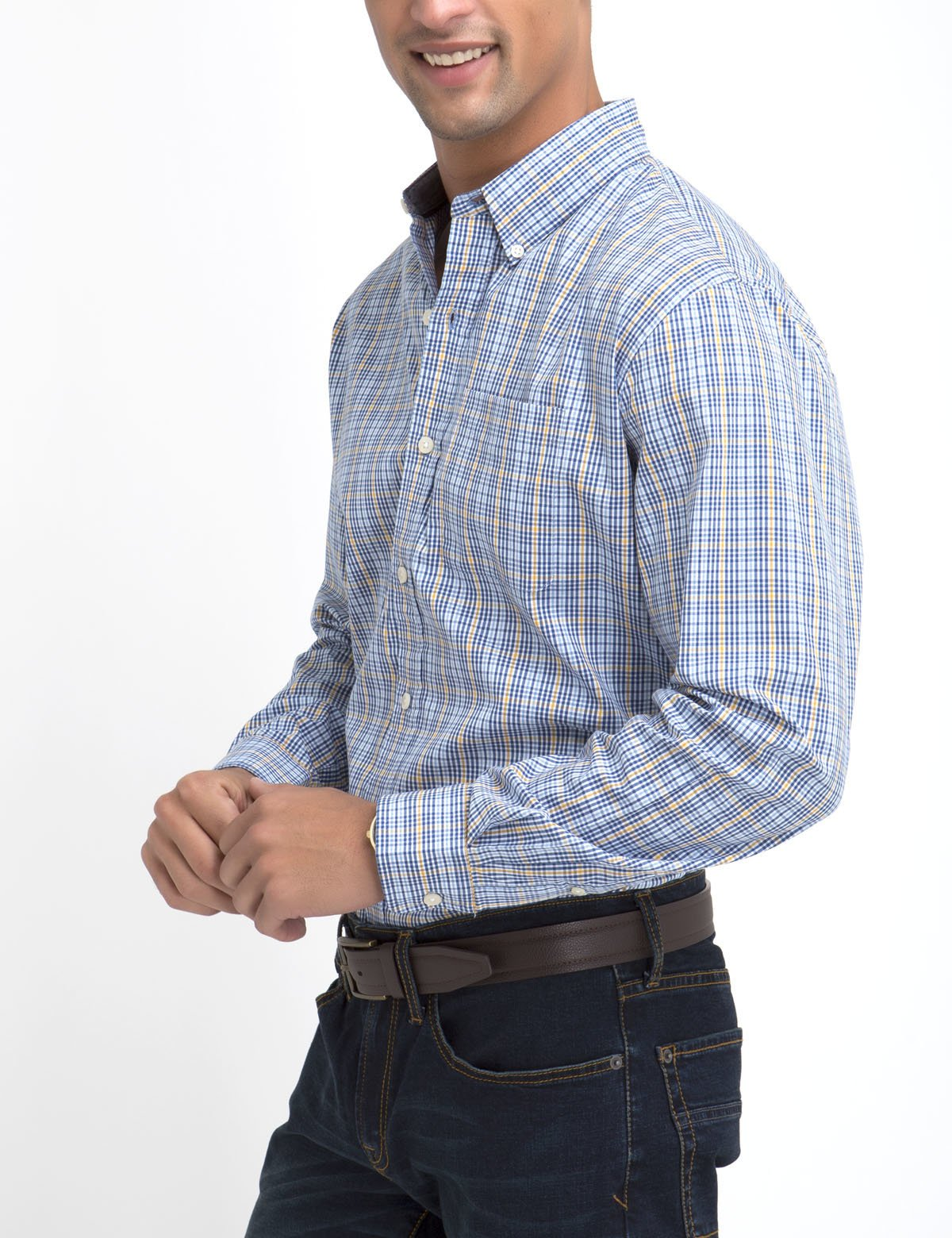 STRETCH FIT PLAID SHIRT IN POPLIN