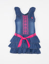 GIRLS DENIM EMBROIDERED DRESS