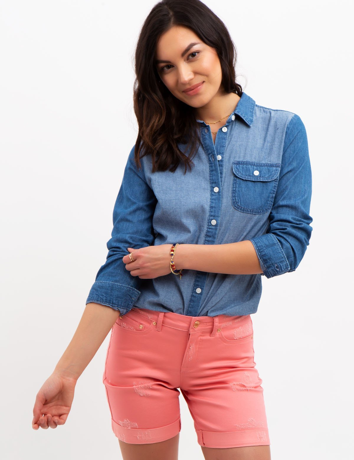 LONG SLEEVE DENIM TOP
