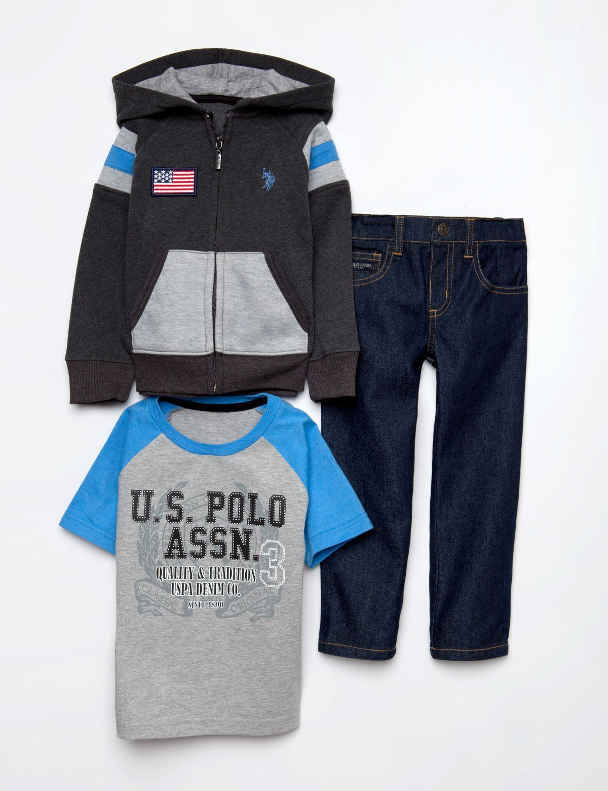 TODDLER BOYS 3 PIECE SET - FLEECE, TEE & JEANS - U.S. Polo Assn.