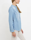 RUFFLE PLACKET POPOVER CHAMBRAY SHIRT