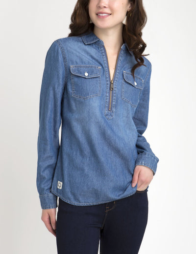 ZIP PLACKET POPOVER CHAMBRAY SHIRT