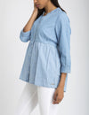 DENIM COLORBLOCK PEPLUM SHIRT