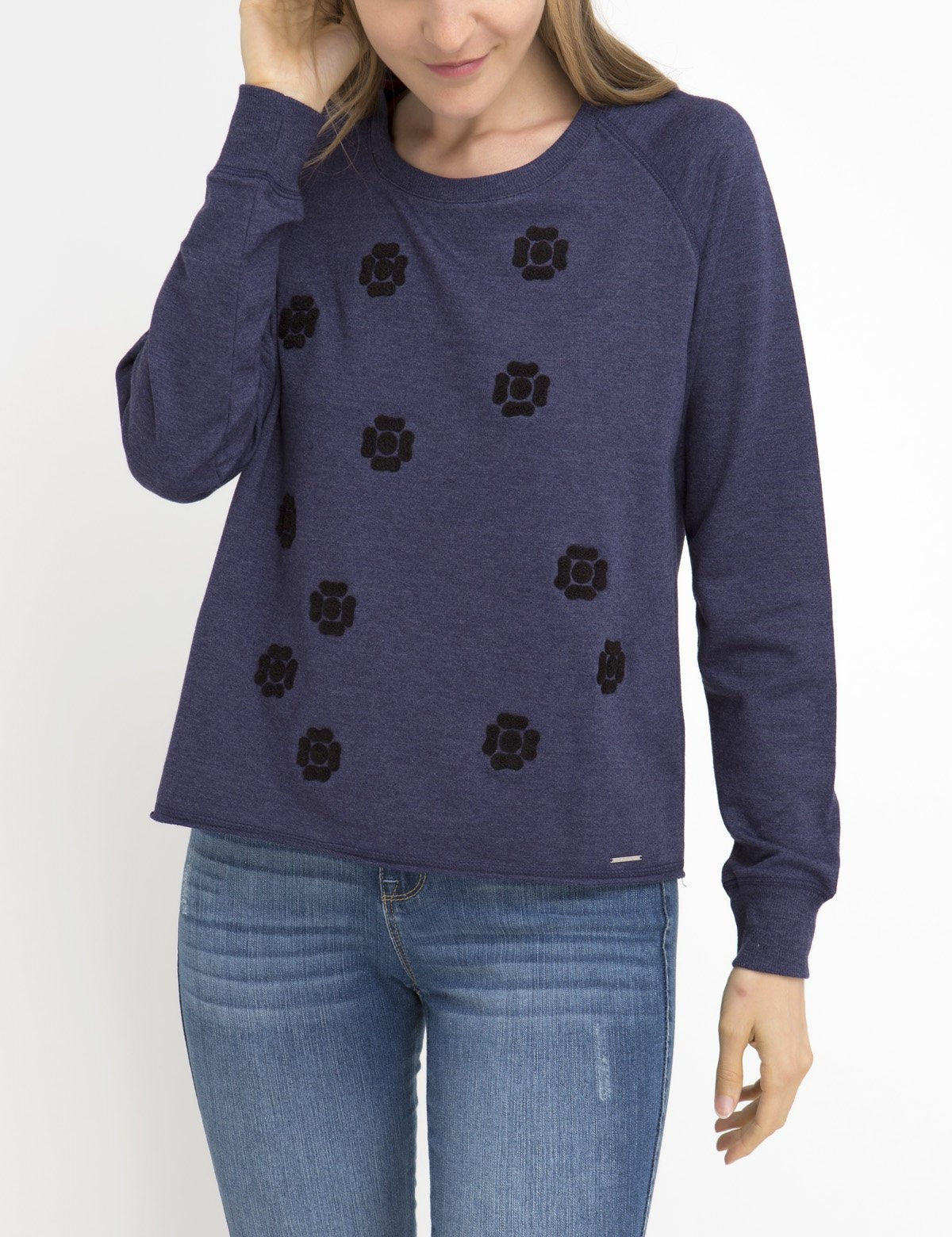 FLORAL APPLIQUE LONG SLEEVE SWEATSHIRT - U.S. Polo Assn.