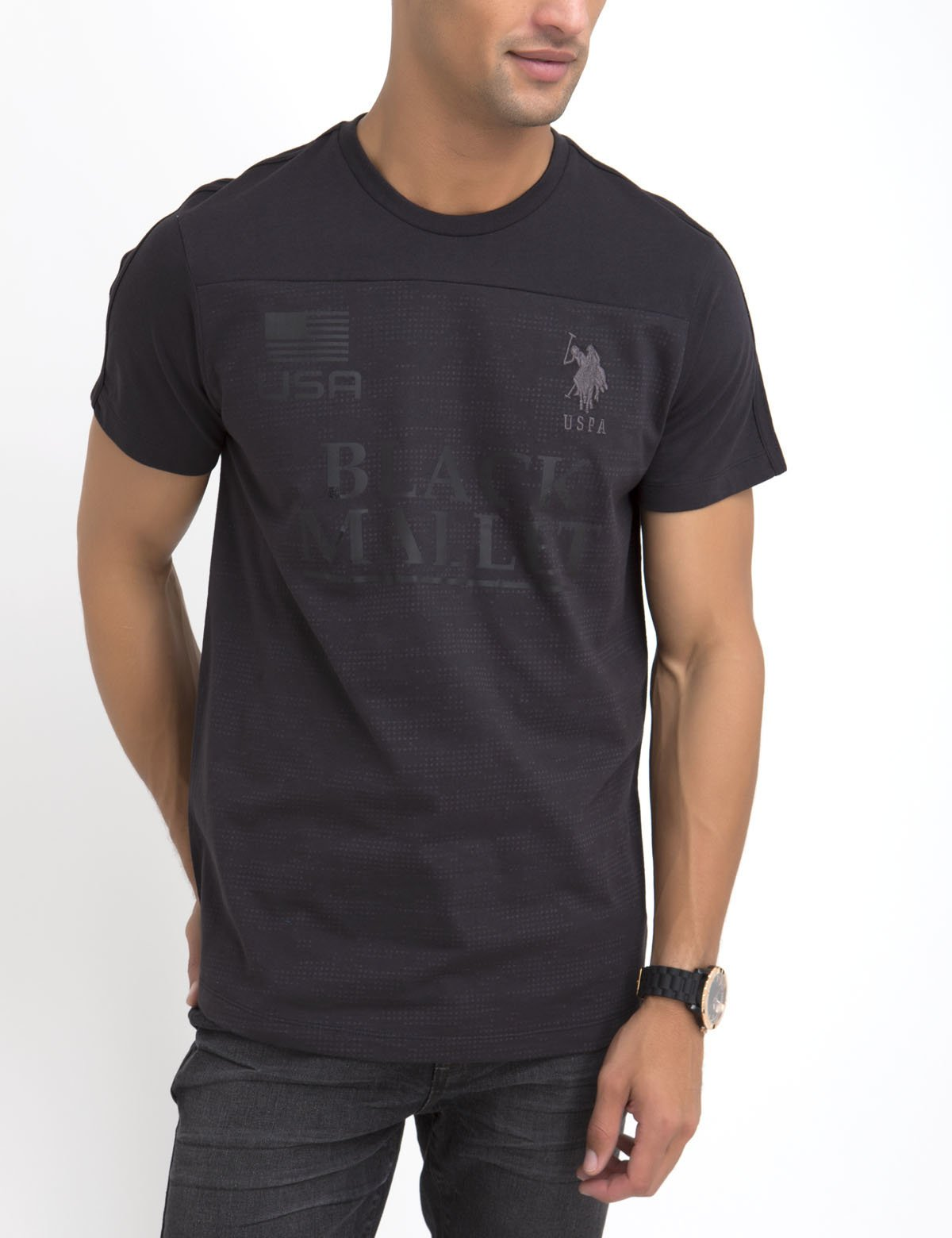 BLACK MALLET BURNOUT CAMO SHORT SLEEVE T-SHIRT - U.S. Polo Assn.