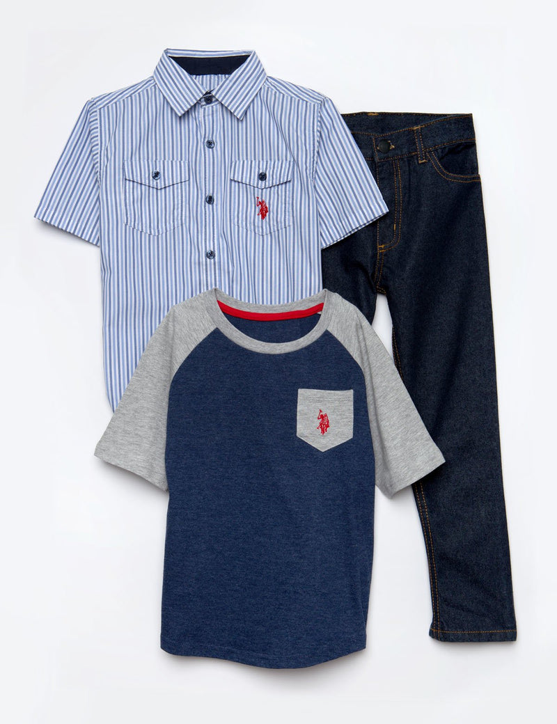 BOYS 3 PIECE SET - SHIRT, TEE & JEANS