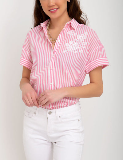 EMBROIDERED STRIPED TOP