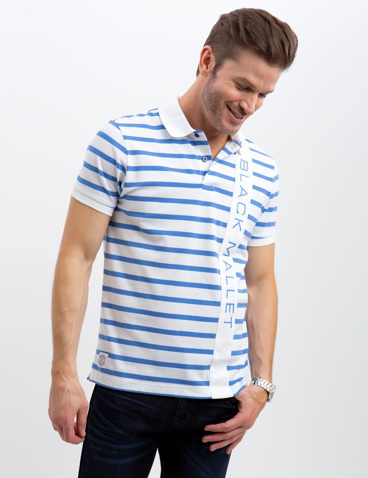 BLACK MALLET STRIPED POLO SHIRT