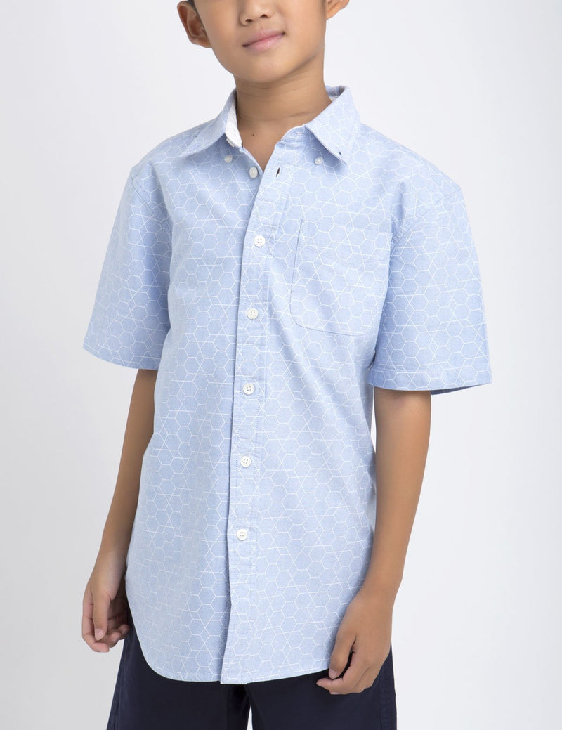 BOYS BLACK MALLET HONEYCOMB SHIRT