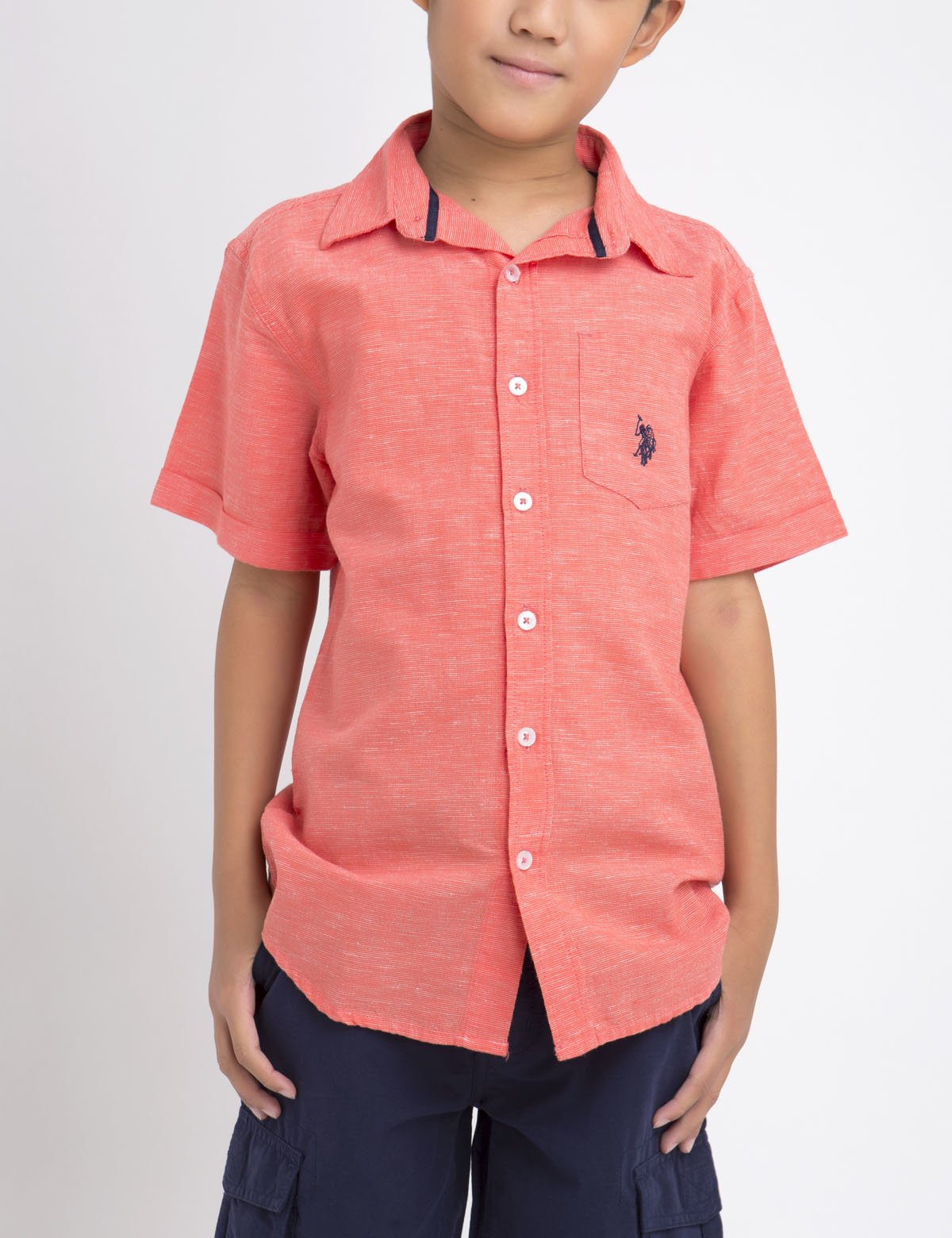 SHORT SLEEVE YARN DYED SHIRT