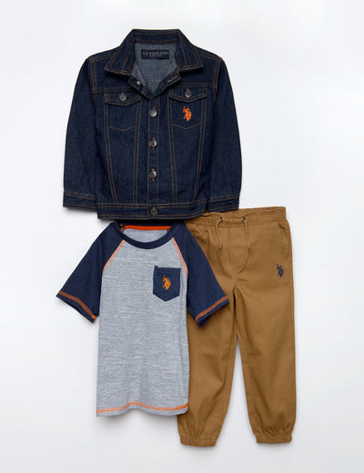 BOYS 3 PIECE SET - JACKET, TEE & JOGGERS - U.S. Polo Assn.