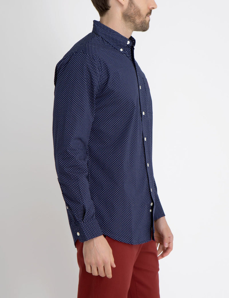 STRETCH FIT DOT SHIRT IN POPLIN