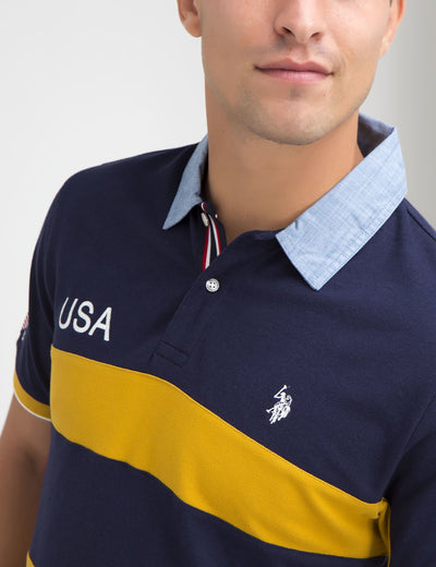 USA OXFORD COLLAR STRIPED POLO SHIRT
