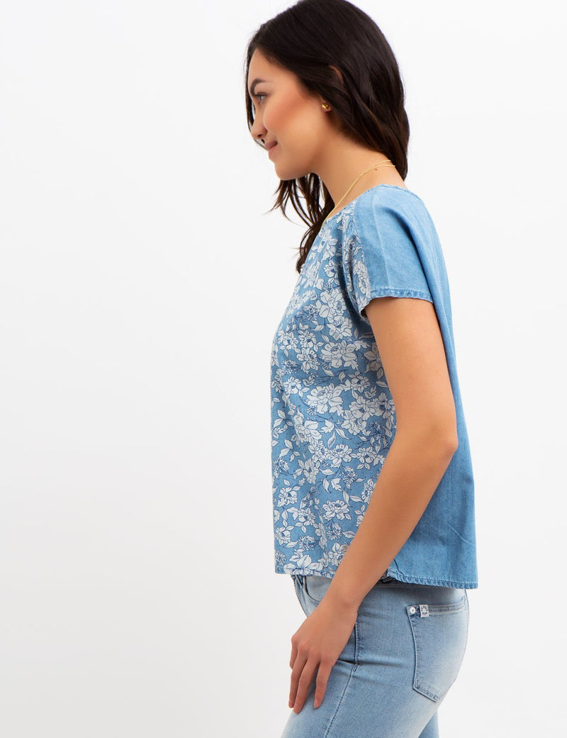 FLORAL PRINTED DENIM TOP