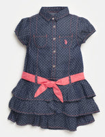 Girls Tie Waist Waistline Cotton Pocketed Embroidered Tiered Short Sleeves Sleeves Dots Print Dress With Ruffles