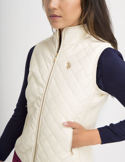 FAUX LEATHER QUILTED SIDE KNIT VEST - U.S. Polo Assn.
