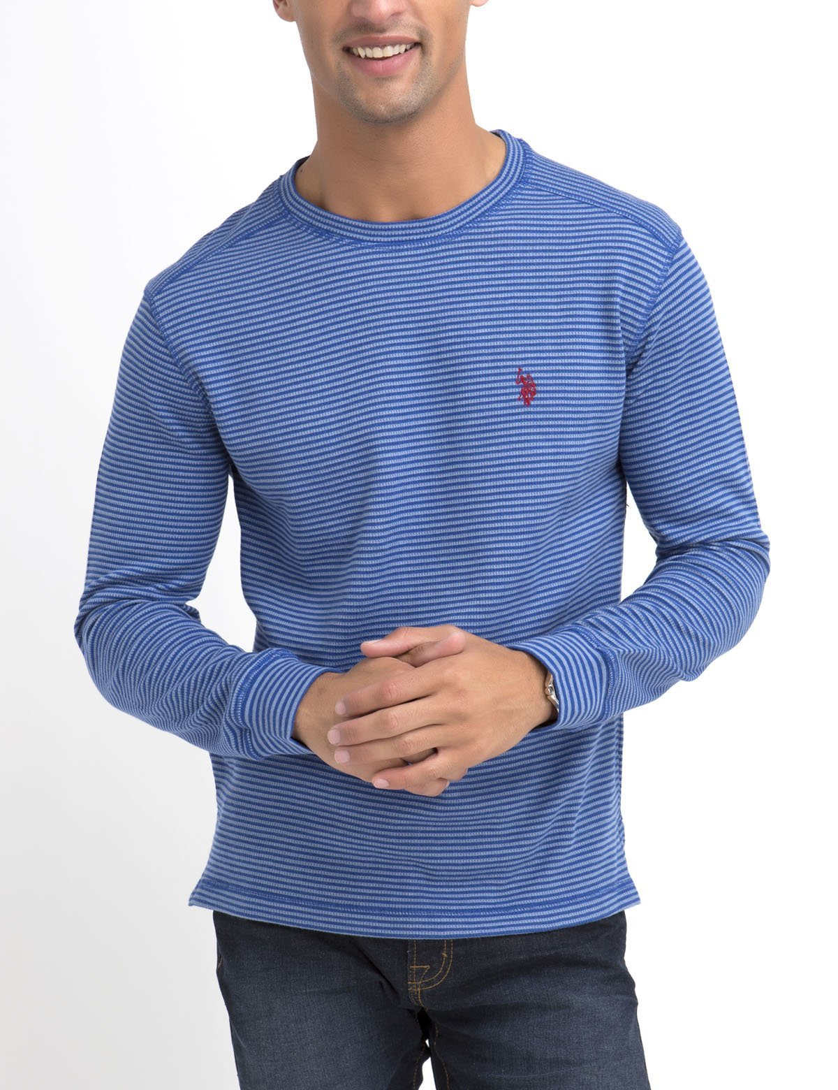 SLIM FIT STRIPED THERMAL TEE