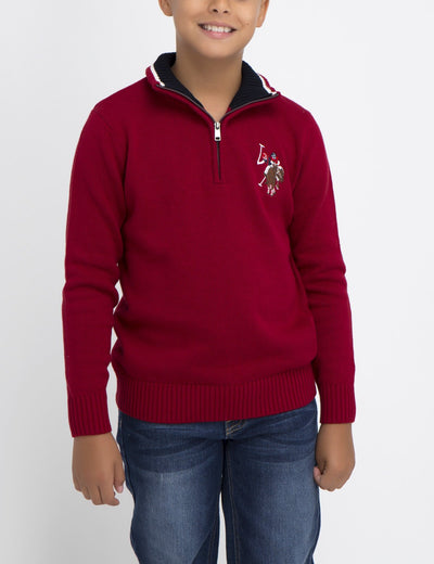 BOYS SOLID COLOR SWEATER WITH MULTICOLOR LOGO - U.S. Polo Assn.