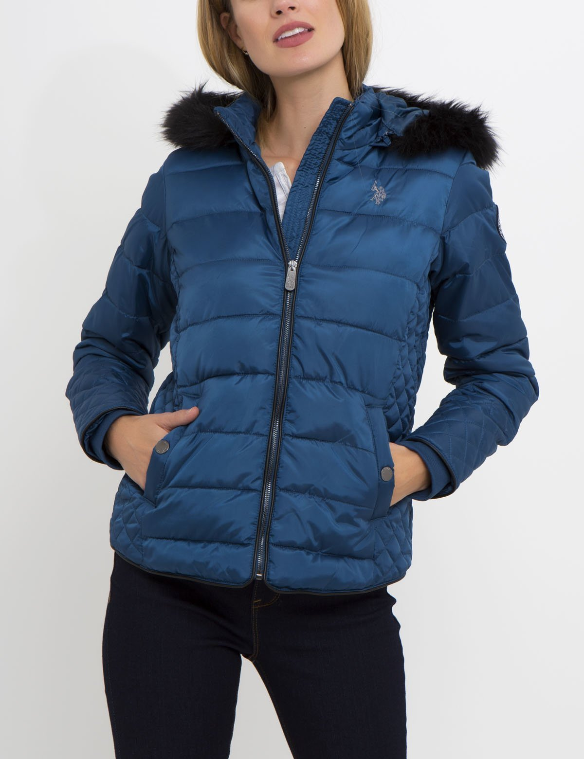 FAUX FUR HOOD MULTI QUILT PUFFER JACKET - U.S. Polo Assn.