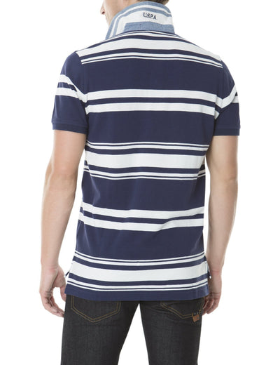 YARN DYED PIQUE PATCH STRIPE POLO SHIRT