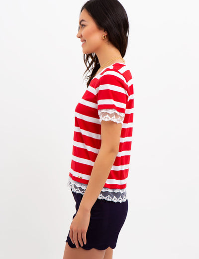 STRIPED LACE TRIM TOP - U.S. Polo Assn.