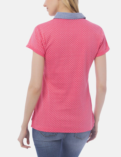 PREMIUM DOT PRINTED CHAMBRAY COLLAR POLO SHIRT