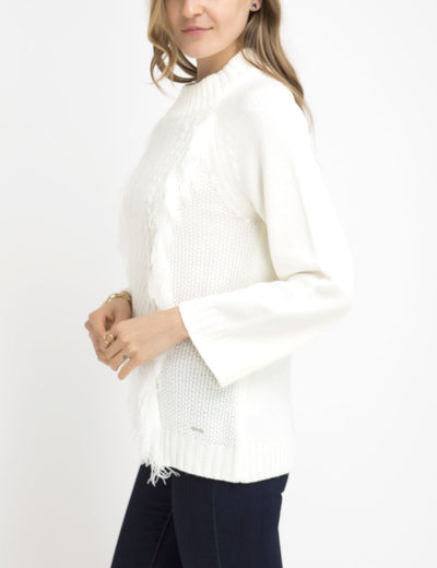 FRINGE MOCK NECK SWEATER