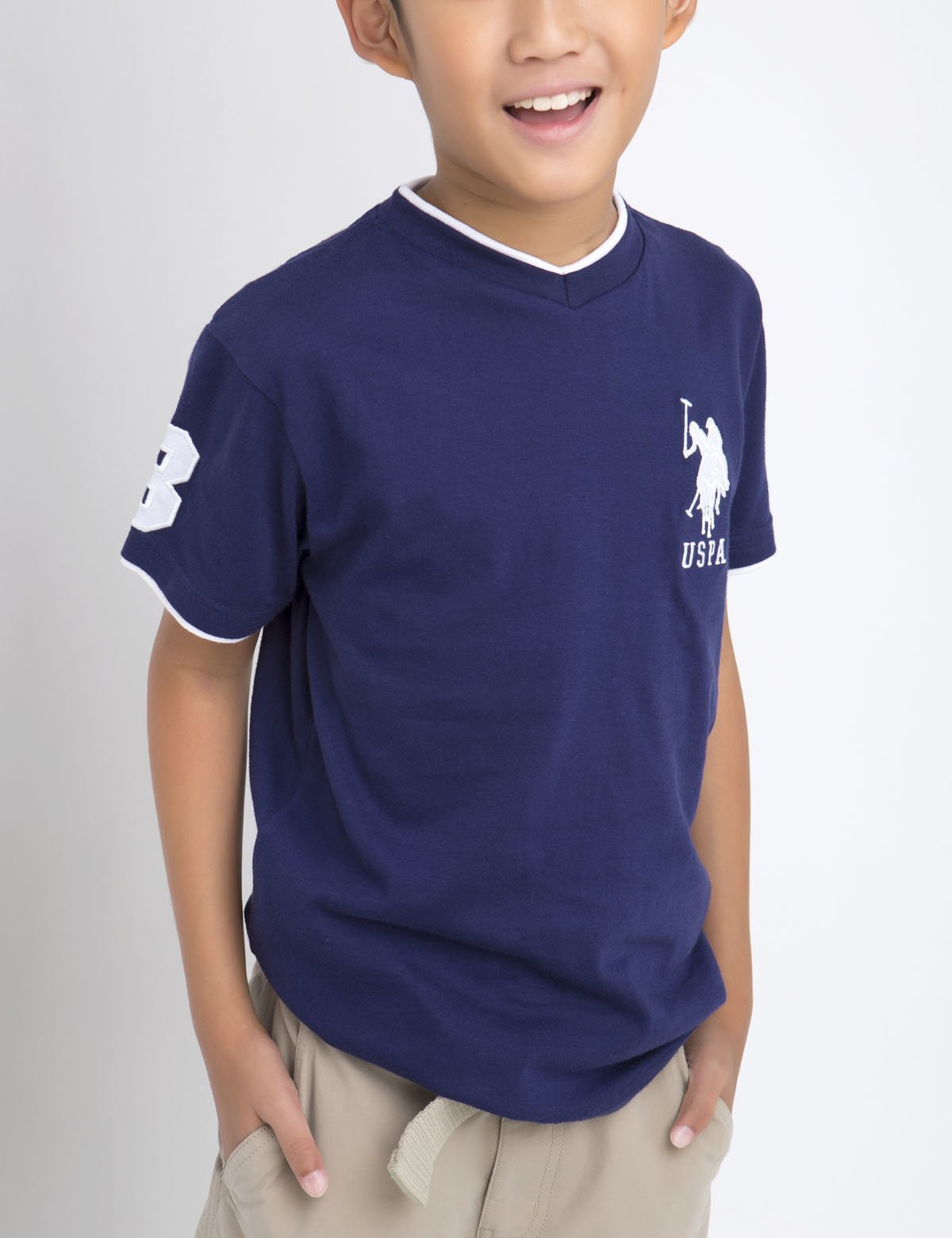 Boys V-Neck Big Logo Tee