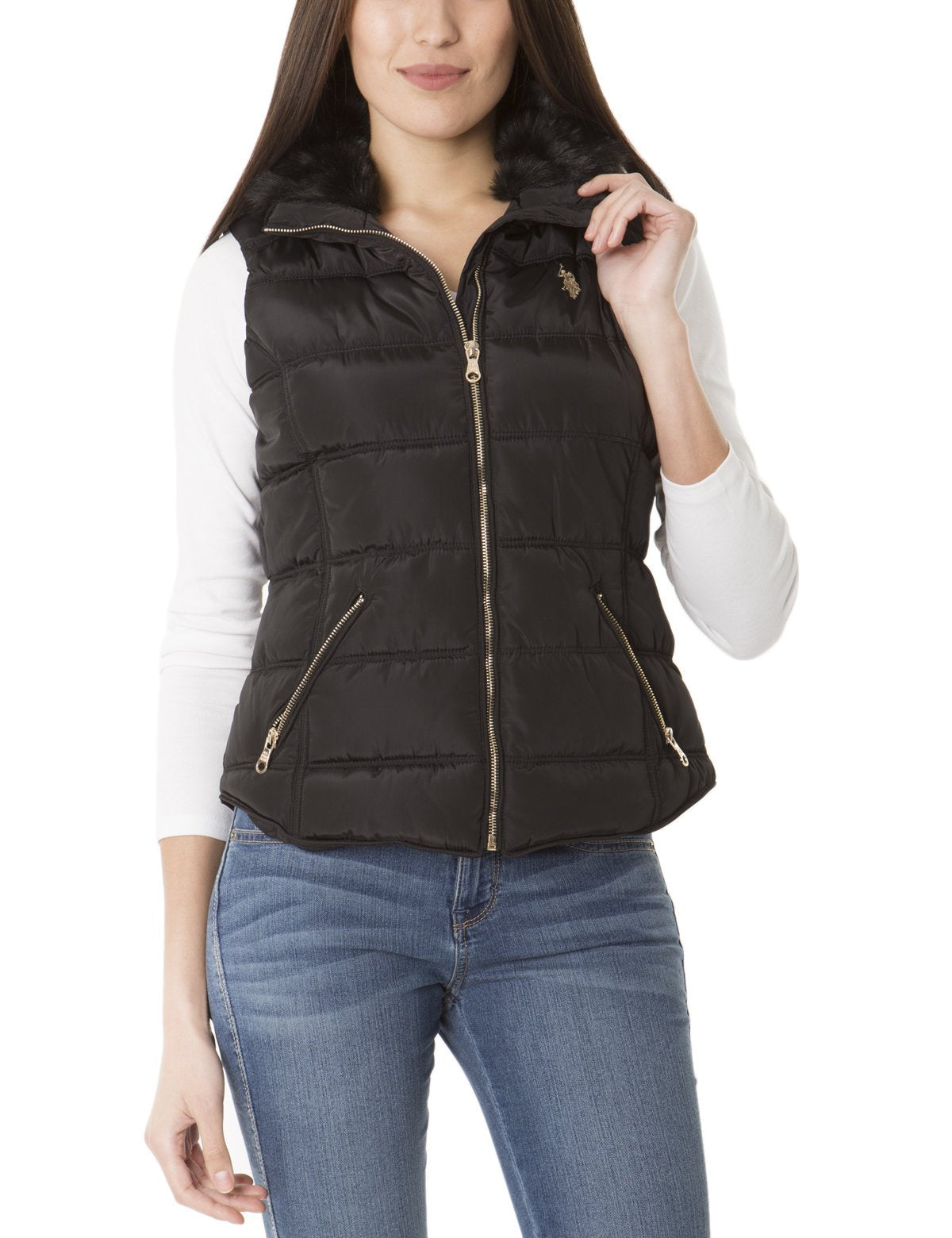 FAUX FUR COLLAR SHIRTTAIL VEST - U.S. Polo Assn.