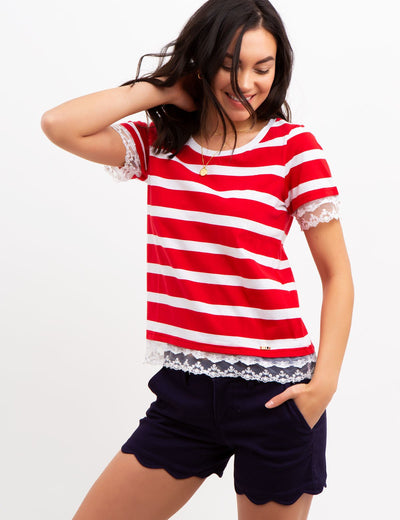 STRIPED LACE TRIM TOP