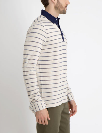 STRIPE COLLARED SHIRT WITH ROLL UP SLEEVES