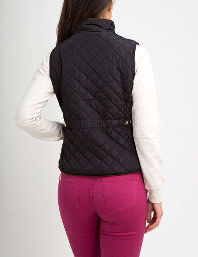 DIAMOND QUILT SIDE KNIT VEST