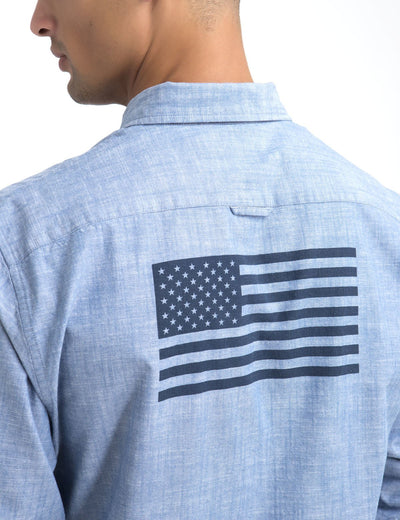 CLASSIC FIT FLAG BACK SHIRT IN CANVAS