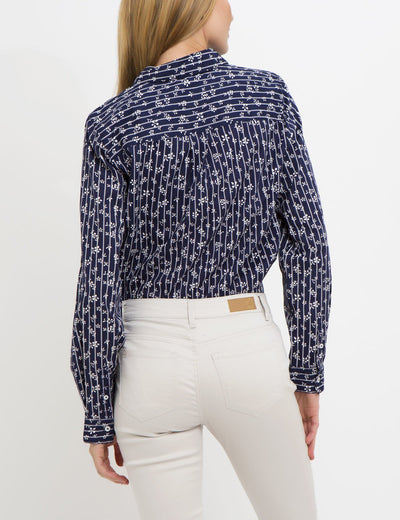 FLORAL STRIPED POPLIN SHIRT