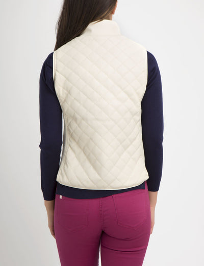 FAUX LEATHER QUILTED SIDE KNIT VEST