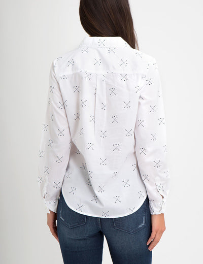 PRINTED MALLOT LONG SLEEVE POPLIN SHIRT