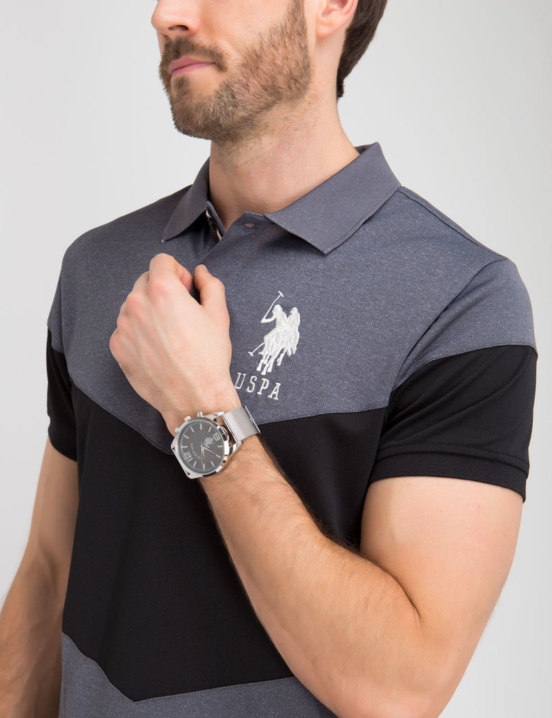 SLIM FIT PIQUE CHEVRON POLO SHIRT
