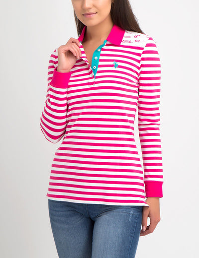 LACE TRIM STRIPE LONG SLEEVE POLO SHIRT - U.S. Polo Assn.