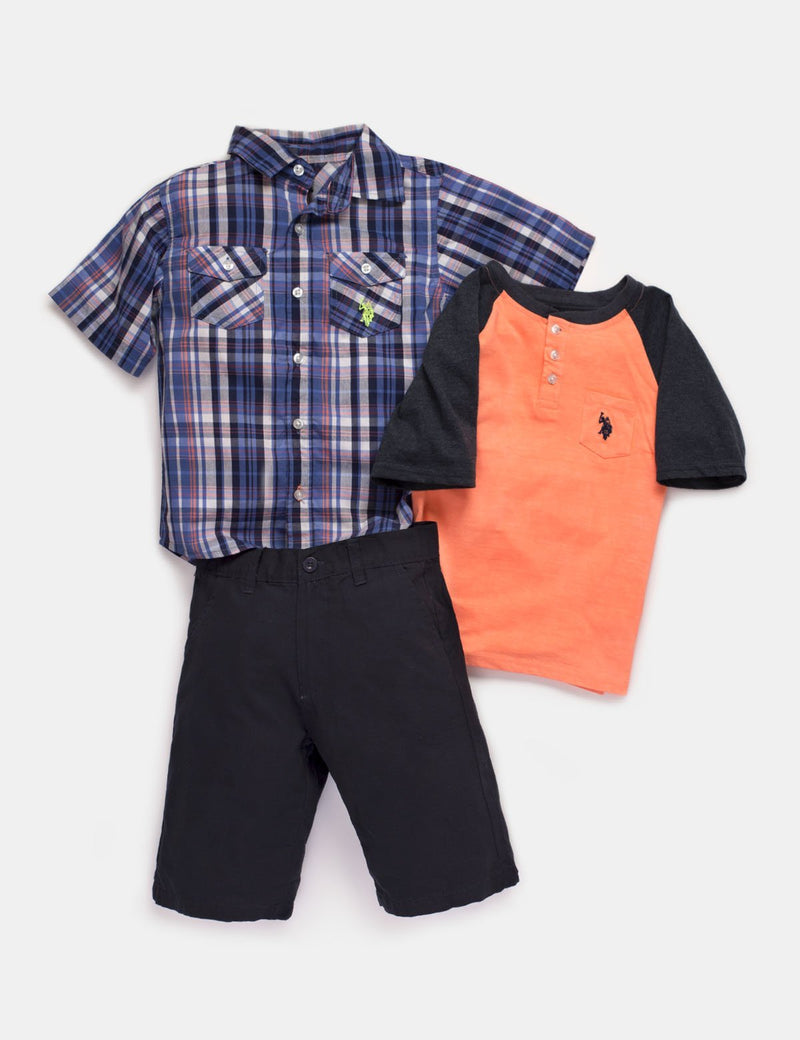 Toddler 3 Piece Set - Shirt, T-Shirt & Shorts
