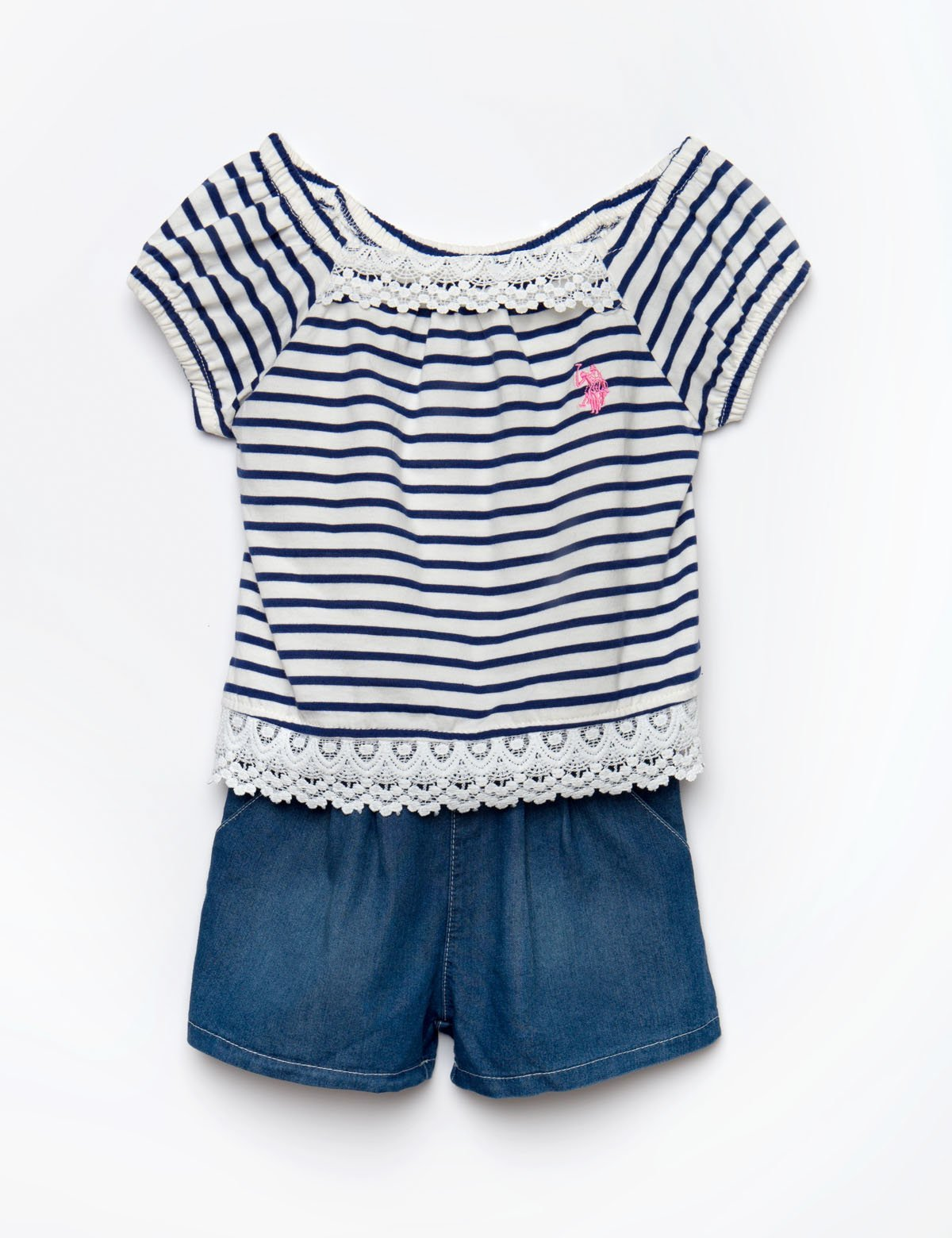 TODDLER NAVY AND VANILLA ROMPER - U.S. Polo Assn.