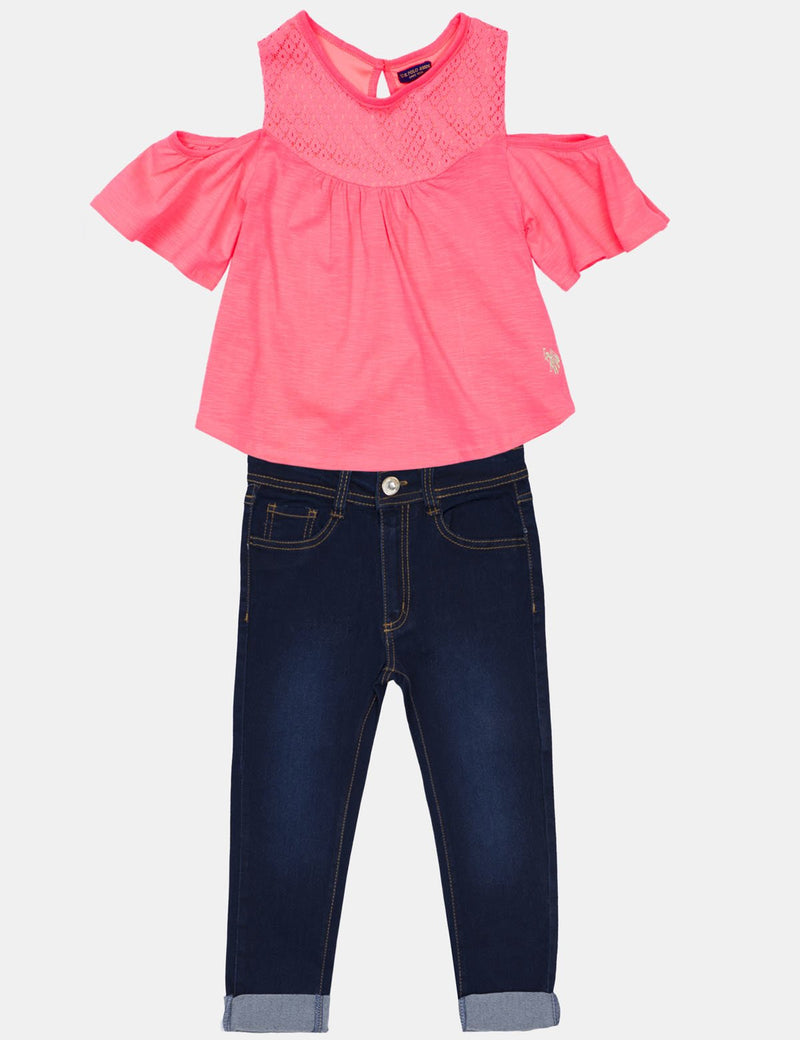 TODDLER 2 PIECE SET: FLUTTERY TOP & DENIM CAPRI