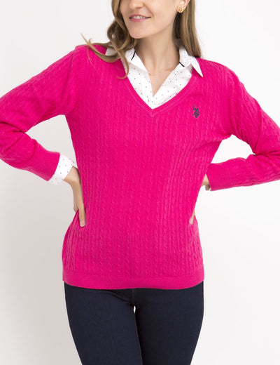 SOLID CABLE V-NECK SWEATER