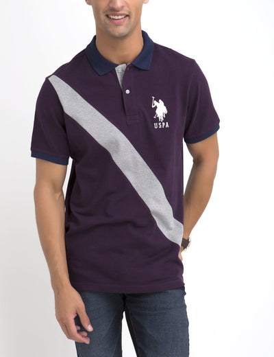 STRIPED & DIAGONAL POLO SHIRT