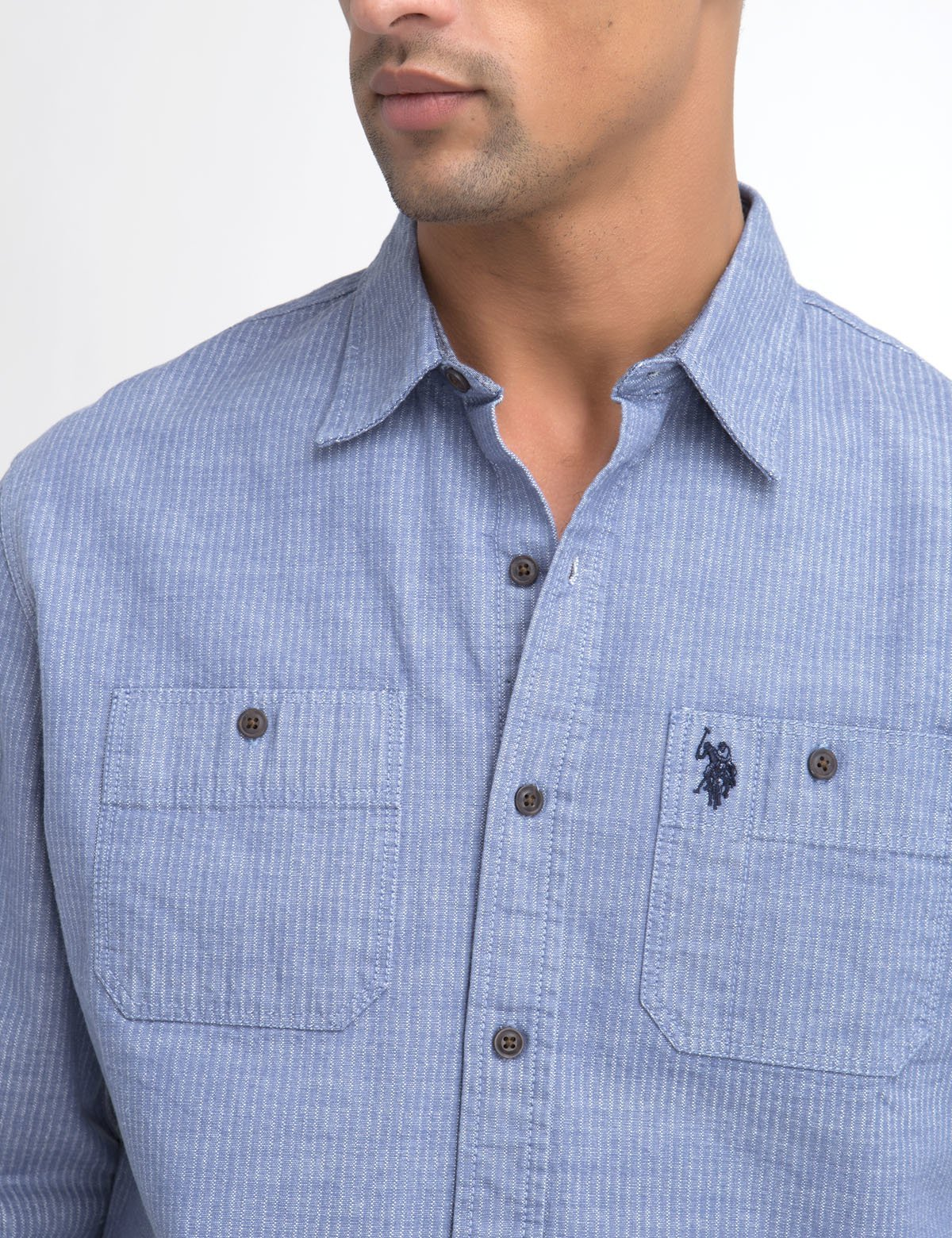CLASSIC FIT TWO POCKET STRIPE SLUB SHIRT IN CANVAS
