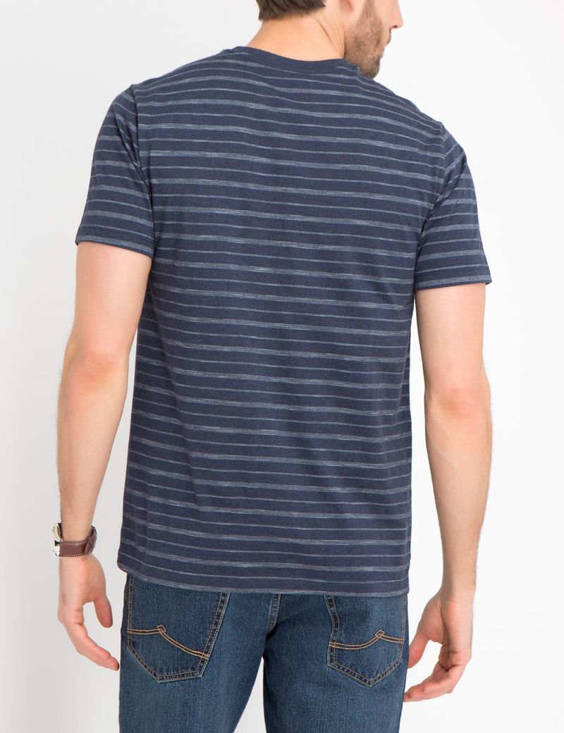 BIRDSEYE STRIPED V-NECK TEE