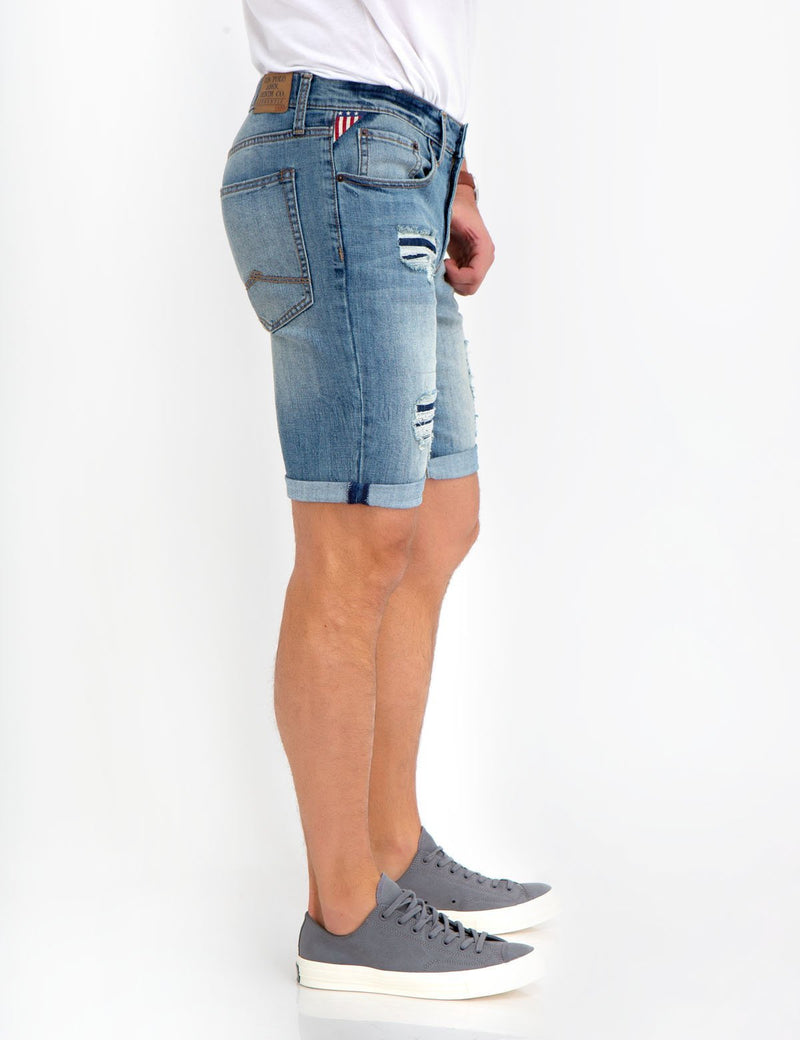 STRETCH SLIM DENIM SHORTS