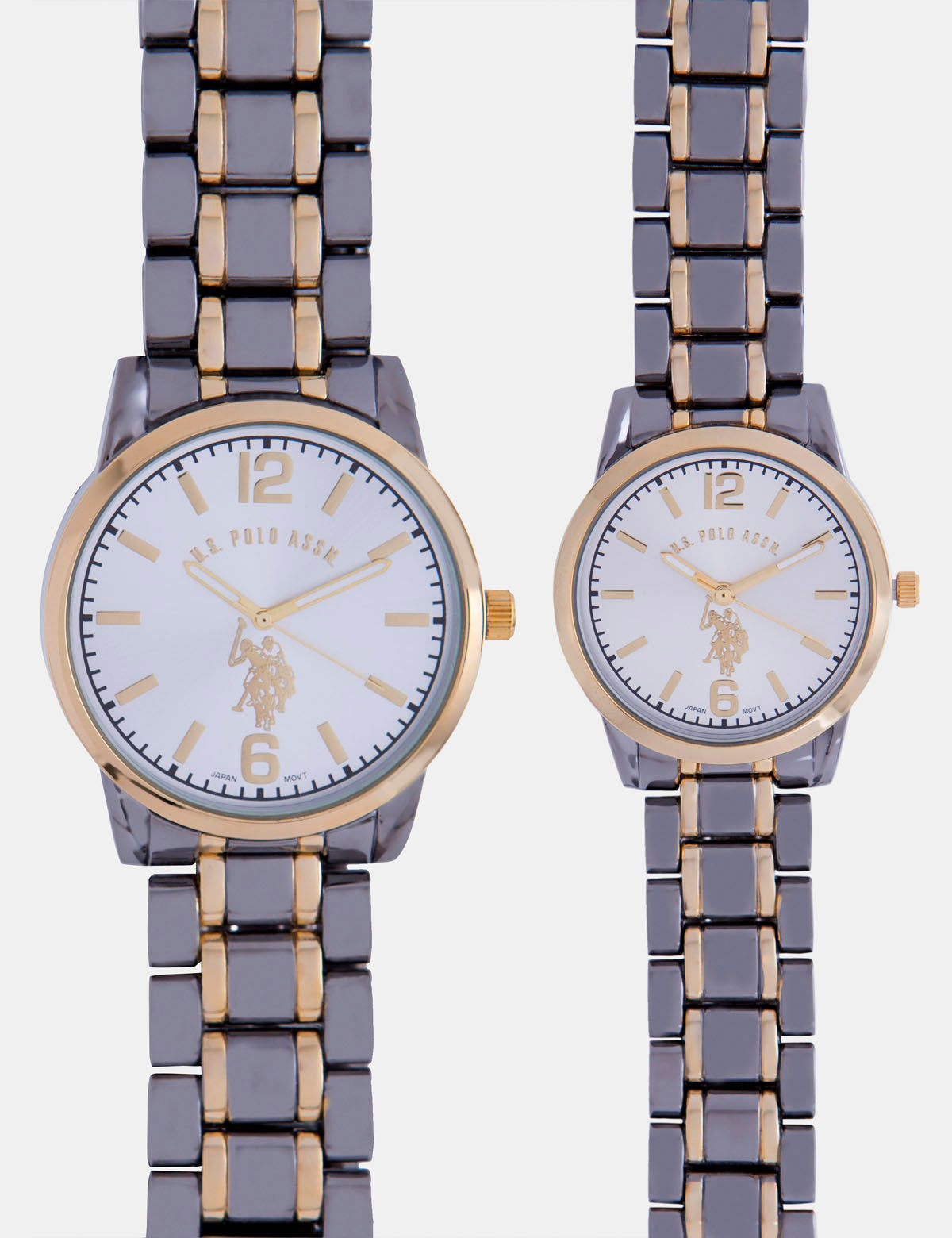 HIS AND HERS TWO TONE CHAIN STRAP WATCH SET - U.S. Polo Assn.